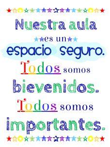 #Spanish poster for the #Spanish classroom. Nuestra aula es un espacio seguro.