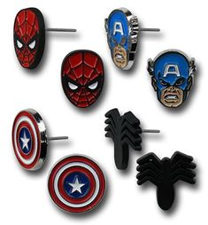 Make your ears Marvelous with this Captain America & Spider-Man 8-Piece Earring Set and you will always be rocking Marvel's top heroes on your ears.  You get the Captain himself, Spidey and even Venom. This Captain America & Spider-Man 8-Piece Earring Set is perfect for fans of co