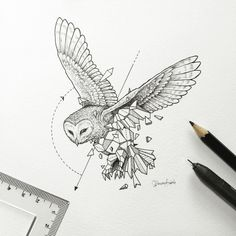 Geometric Art by Kerby Rosanes - Tattoos - Geometric paint Geometric Wolf Tattoo, Geometric Bird, Geometric Tattoo Design, Geometric Drawing, Geometric Shapes, Geometric Sleeve, Lechuza Tattoo, Beautiful Drawings, Future Tattoos