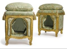 Louis XV giltwood dog kennels niches en tabourets (dog bed footstools), circa 1765.  Reupholstered in 18th century French silk in 1987 by the firm of Mayorcas Ltd., London. Part of the Jayne Wrightsman Collection up for auction Sotheby's 2010.