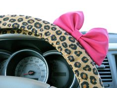 Cheetah Steering Wheel Cover with Matching Bow.  Black and white polka dot with red bow = Minnie Mouse car!