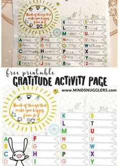 Free Printable Gratitude Activity Page