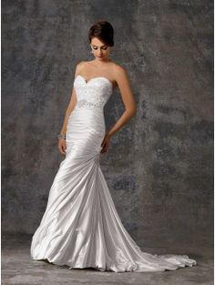 Mermaid Strapless Sweetheart Chapel Train Lace Bridal Gown