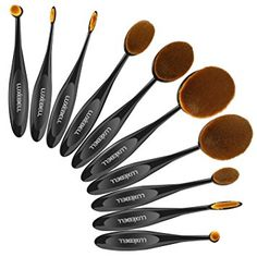 Set de Brochas Luxebell 10pcs Pinceles de Maquillaje Profesional de Estilo de Cepillo de Dientes Brushs Makeup Cosmético (Marrón)