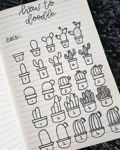 A short guide to drawing simple little cacti.A short guide to drawing simple little cacti.A short guide to drawing simple little cacti. Bullet Journal Banner, Bullet Journal 2019, Bullet Journal Notebook, Bullet Journal Ideas Pages, Bullet Journal Inspiration, Succulents Drawing, Cactus Drawing, Doodle Art For Beginners, Bullet Journal Aesthetic