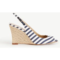 Ann Taylor Aileen Striped Slingback Wedges ($60) ❤ liked on Polyvore featuring shoes, sandals, navy blue, peep toe wedge sandals, slingback sandals, navy wedge shoes, slingback wedge sandals and peep toe sandals