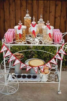 Popcorn bar by Camille Styles for The Glitter Guide... so cute. Stealing this idea for movie night!