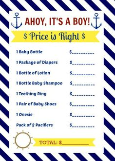 Nautical Baby Shower Free Guess Card