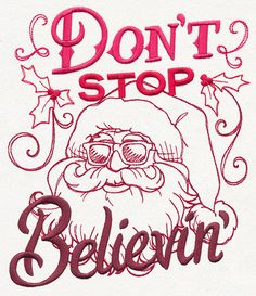 Christmas Apron Don't Stop Believin Embroidered (May be Personalized)