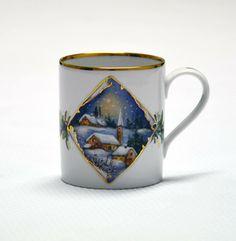 ** Hrníček na kávu - malovaný obrázek se zimním dekorem **