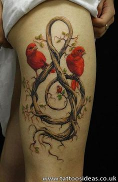 Tree treble clef with 2 red birds