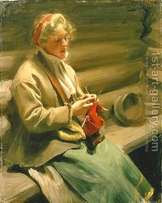 Girl from Dalecarlia knitting