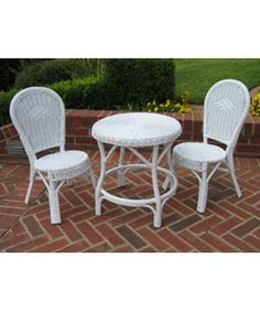 @Overstock - Bistro set includes one table and two chairs  Outdoor furniture constructed of durable wicker and rattan   Children's garden decor with a white finishhttp://www.overstock.com/Home-Garden/Childrens-White-Wicker-3-piece-Bistro-Set/2215434/product.html?CID=214117 $129.99