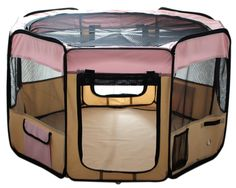 "Amazon.com : ESK Collection 45"" Pet Puppy Dog Playpen Exercise Pen Kennel 600d Oxford Cloth Pink : Pet Supplies"