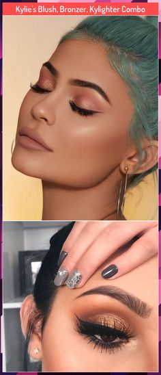 Kylie's Blush, Bronzer, Kylighter Combo The Kylie Cosmetics by Kylie Jenner Blush, Bronzer and Kylighter Combo includes: Kitten Baby Blush (a Gold Eye Makeup, Gold Eyes, Bronzer, Kylie Jenner, Blush, Make Up, Cosmetics, Earrings, Jewelry