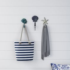 Decorative Nautical Wall Hooks-Cast Iron Coastal Rustic Wall Mount Hooks for Coats, Towels, Hats, Scarves, Jewelry and More by Lavish Home Decorative Wall Hooks, Wall Mounted Hooks, House Wall, White Home Decor, Rustic Walls, Iron Wall, Home Decor Outlet, Accent Pieces, Decorative Accessories