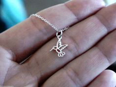 Tiny Rhodium Plated Hummingbird  Necklace by JewelryFindings168, $10.50