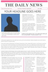 Newspaper Article Template Free Pack For Word Perfect School