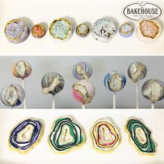 Geode Chocolate Covered Oreos, Cake Pops and Agate Slice Cookies, Creations By The Bakehouse