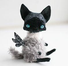 Fantasy | Whimsical | Strange | Mythical | Creative | Creatures | Dolls | Sculptures | ☥ | flying cat by da-bu-di-bu-da on deviantART