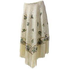 Preowned 1960s Valentina Ltd. Iridescent Sequin & Beaded Wool Skirt W/... ($1,500) ❤ liked on Polyvore featuring skirts, circle skirts, white, skater skirts, floral skirt, woolen skirt, white knee length skirt and floral skater skirts