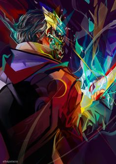 Photoshop cs5 Wacom Cintiq I had a blast of inspiration between works, had to paint this. My interpretation of how Delilah could paint Corvo in her chaotic and beautiful style. Has always, thanks B...