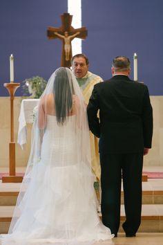 Bride and Groom at Saint Mark's Catholic Church, Tampa, Florida Navy & Green Country Club Soiree on Borrowed & Blue.  Photo Credit: Jillian Joseph Photography