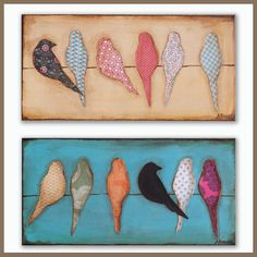 12x24 Made to order Mixed Media Bird Silhouette Art on Canvas. $50.00, via Etsy.