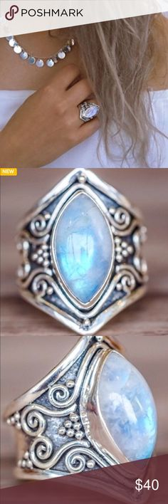 Boho Style White Gold Plated Moonstone Ring Beautiful Moonstone is the centerpiece of any amazing outfit! Moonstone is opalescent in color and looks white until turned at an angle and is opalescent pink! Very unusual and pretty! unkn Jewelry Rings