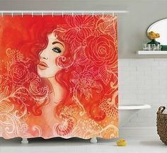 """Red Shower Curtain Lady Hair Floral Ornament Print for Bathroom 84"""" Extralong"""