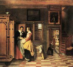 Pieter de Hooch, Interior with women beside a linen chest