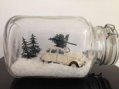 Vintage toy car, faux snow, mini trees.