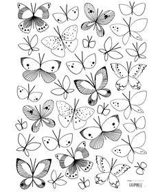 Illustration Papillon, Butterfly Illustration, Butterfly Drawing, Art Drawings For Kids, Art Drawings Sketches, Easy Drawings, Animal Drawings, Tier Doodles, Cute Doodles
