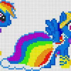 MLP Gala Rainbow Dash perler bead pattern