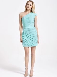 One Shoulder Ruched Sheath Dress  Holiday dress!