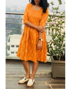 Ikkat dresses - Mustard And White Handwoven Ikat Dress Bandhani Dress, Kalamkari Dresses, Ikkat Dresses, Frock Fashion, Fashion Dresses, Kurti Designs Party Wear, Dress Designs, Casual Frocks, Frock For Women