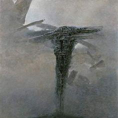 Untitled by Zdzislaw Beksinski. Surrealism. symbolic painting