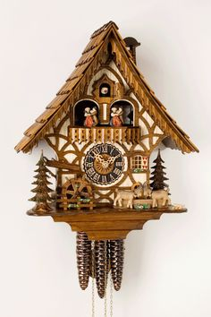Original Cuckoo Clock from the Black Forest (Made in Germany) NOVELTY Beautiful half-timbered German house with 2 fighting goats With turning water wheel Notice:Our price includes insured shipping worldwide. German Decor, Coo Coo Clock, Black Forest Germany, Swiss Chalet, Alpine Chalet, Cool Clocks, Wooden Clock, Antique Clocks, Decoration