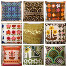 Vintage fabric cushions by Jodi Jo Retro
