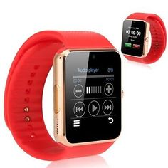 GT08 Bluetooth Smart Wrist Watch GSM Phone For Android Samsung Apple iOS iPhone (Red/Gold).