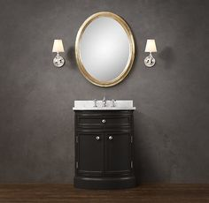 RH's Odéon Powder Room Vanity:With its distinctive curved-front paneling, our handcrafted vanity is a handsome and practical evolution of the demi-lune shapes that were de rigueur in France. Customize with the paint color and stone top of your choice. Powder Room Vanity, Boy Bath, Downstairs Bathroom, Vanity Sink, Guest Bath, Room Colors, Restoration Hardware, Faucet, Interior Design