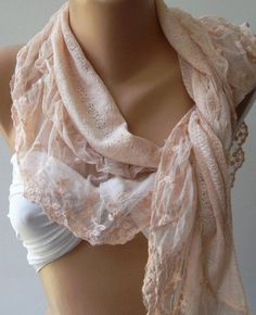 Salmon Pink  Elegance  Shawl / Scarf with Lacy Edge by womann, $19.00