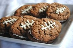 Chocolate Oatmeal Cream Pie Footballs - Shugary Sweets