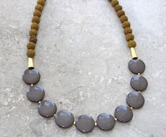 Lava rock necklace green statement necklace green Lava bead