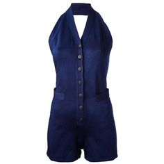 Preowned Jean Paul Gaultier 1990 'les Rap'pieuses' Sleeveless Romper ($1,296) ❤ liked on Polyvore featuring jumpsuits, rompers, multiple, summer romper, summer halter tops, halter rompers, sleeveless romper and vintage rompers