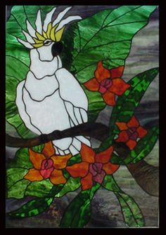 Stained Glass Heirlooms: Tropical Jungle Cockatoo