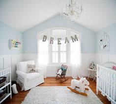 Soft Blue Pallette. Love the split walls. Our favorite white upholstered glider from Taylor Scott.