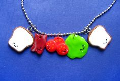Polymer Clay Charms BLT Sandwich Stacking Necklace