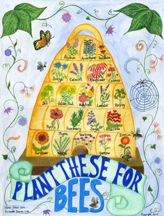 Bee Skep Poster for flowers to plant to attract bees- front bee/butterfly garden. Bee Skep, Save The Bees, Bee Happy, Bees Knees, Queen Bees, Garden Planning, Day Use, Garden Projects, Perennials