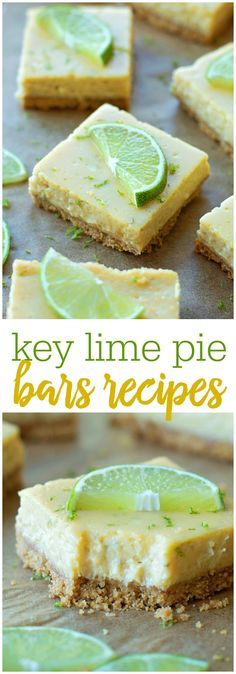 Key Lime Pie Bars is part of Desserts One of everyone& favorite desserts in a bar form! These Key Lime Pie Bars have a graham cracker crust and a delicious cream cheese and lime filling! No Bake Desserts, Easy Desserts, Delicious Desserts, Brownie Desserts, Baking Desserts, Key Lime Desserts, Key Lime Dessert Recipes Healthy, Healthy Desserts, Lemon Desserts